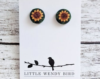 Sunflower Fabric Covered Button Stud Earrings