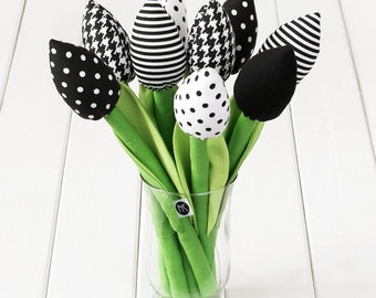 6b9fa6215 Black and white flowers / flowers for her / fabric tulips bouquet / wedding  bouquet / birthday gift / fabric tulip / valentine day gift