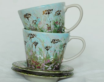 Set of 2 hand-painted cups with meadow