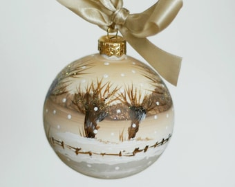 """Hand-painted glass Xmas bauble 8 cm / 3 """""""