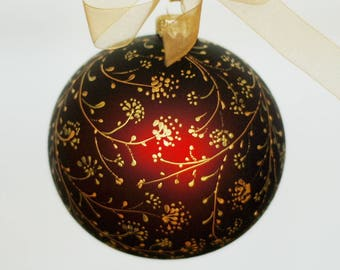 """Huge hand-painted glass Xmas bauble 12 cm / 4.72 """""""