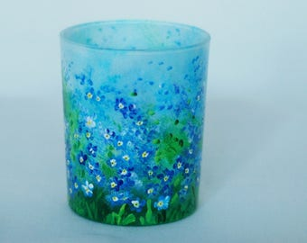 Hand-painted glass candle holder with forget me nots