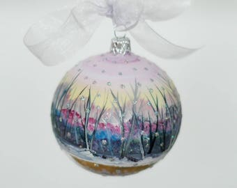 Hand-painted glass Xmas bauble