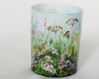 Hand-painted glass candle holder with blooming meadow