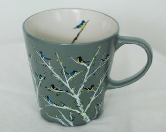 Hand painted mug with little birds