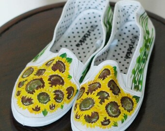 Hand-painted canvas shoes with cornflowers US size 8