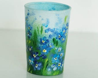 Set of 2 hand painted shot-glasses with forget me nots