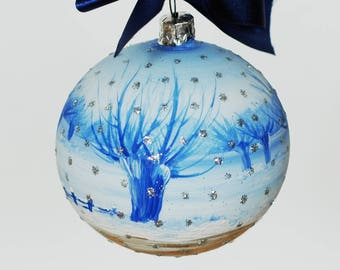 """Hand-painted glass Xmas bauble 10 cm / 3.94 """""""