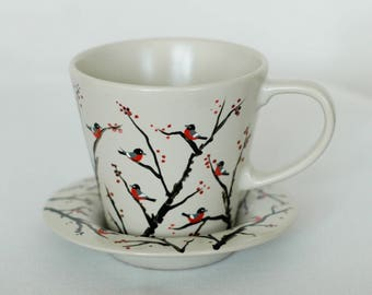 Hand-painted tea cup with finches