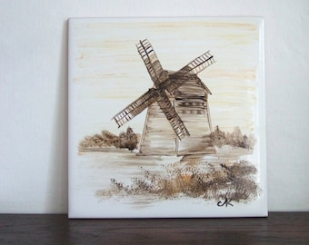 Hand-painted tile with old windmill