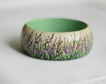 Hand-painted wooden bracelet with heather - not decoupaged :)