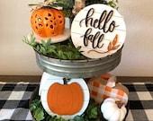 Hello Fall, Pumpkin 3D mini round, Fall Decor, Home Decor, Tier Tray Decor