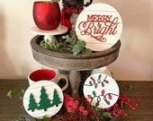 Merry Bright, Christmas Lights, Christmas Tree 3D mini signs, Christmas Decor, Tier tray, farmhouse, Christmas tiered tray, home decor