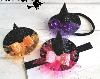 Witches hat headband, halloween hair bow, baby halloween headband, baby witches hat, Toddler halloween headband, halloween photography prop