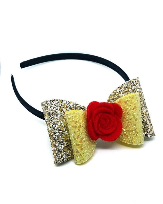Disney Princess Belle Beauty and the Beast Inspired Girls Glitter Hair Bow