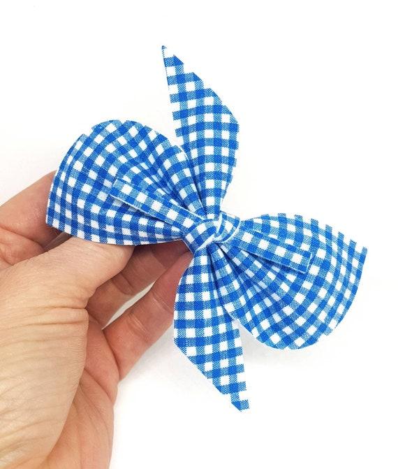 Hand Made Bow Bun Wrap School Hair Accesories Blue Gingham