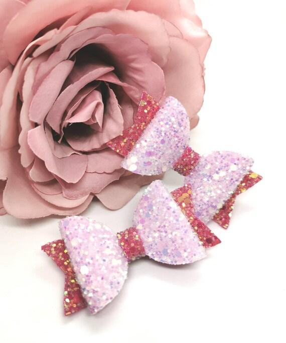 girls small rose gold pink white glitter hair bows hair clips bobbles
