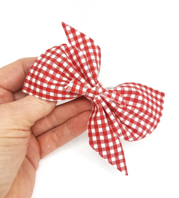 """Personalised Back to school grey red tartan gingham red glitter Hair Bow Clip 4/"""""""