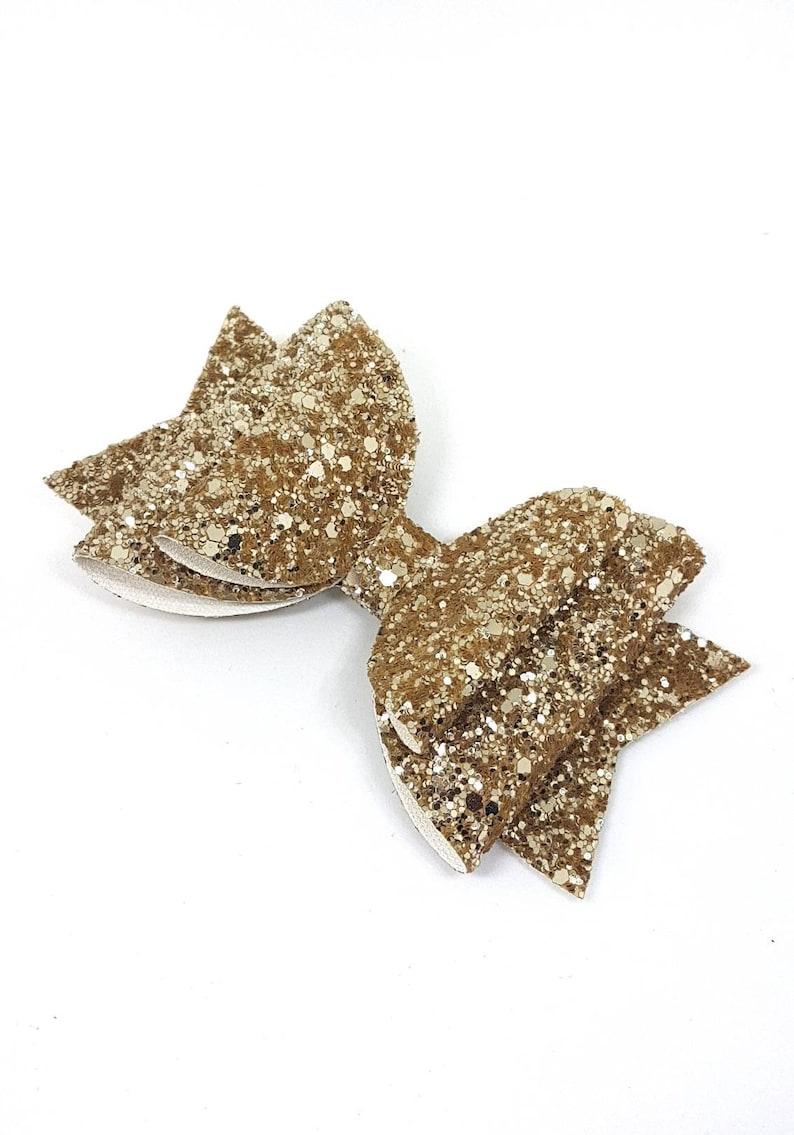 glitter hair clips Big Gold hair bow girls hair accessories bridesmaids hair bows photo prop baby headband