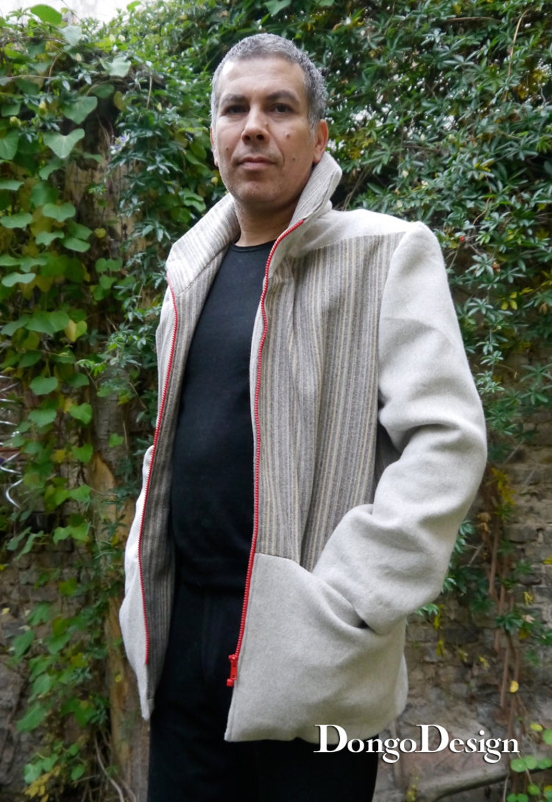 PDF sewing Pattern for Mens jacket Geometrie with  e-book sewing instructions