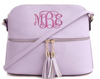 Monogrammed Lavender Purse, Monogram Crossbody Purse, Bridesmaid Gifts, Gifts For Daughter