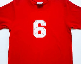 Boys Baseball Number 6 Shirt In A Size Youth Small