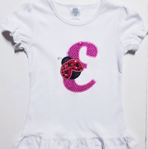 Monogram Shirt Gift Birthday Lady Bug
