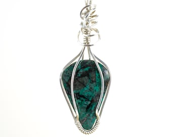 Green Chrysocolla Pendant - Wire Wrapped Pendant - Argentium Sterling Chrysocolla Necklace - Chrysocolla Jewelry