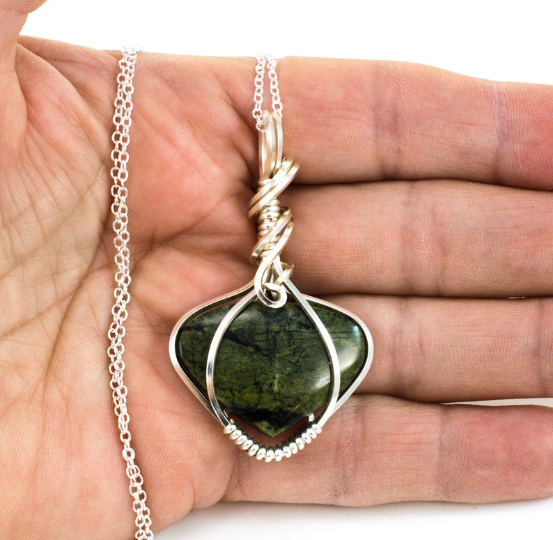 Sierra River Rock Gift For Her Green Stone Jewelry Green Stone Pendant Wire Wrapped Pendant Wire Wrap Jewelry