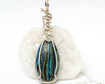 Rainbow Calsilica Pendant - Argentium Sterling Calsilica Necklace - Rainbow Calsilica Jewelry - Wire Wrapped Pendant