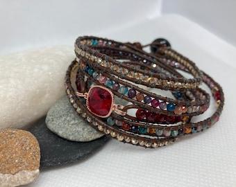 Leather Wrap Swarovski Multi Coloured Quartz Hematite Boho Bracelet 5 Wrap Handmade