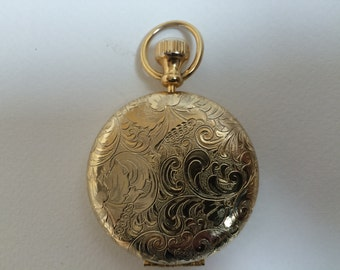 Etched Vintage Estee Lauder Gold Tone Pocket Watch Compressed Powder