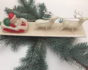 Vintage Celluloid Santa in Sleigh being Pulled by Twin Buck Deers