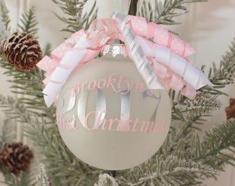 Monogram Baby's First Christmas Ornament Personalized Baby's First Christmas Ornament Christmas 2017 Baby Shower Gift Monogram Gift