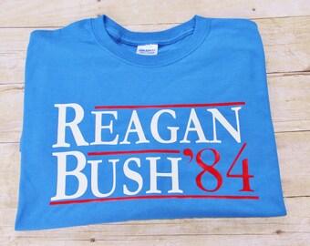 2a784d91 Reagan Bush 84 Political Tee Personalized Republican Party Election 2020  GOP Ronald Reagan George Bush Tee Shirt POTUS tee President Tee