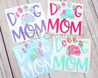 "Dog Mom Decal, 3"" Dog Decal, Lilly Print Dog Mom, Pet Paw Decal, Dog Paw Window Sticker, Dog Mom Window Sticker, Yeti Decal, Paw Print Decal"