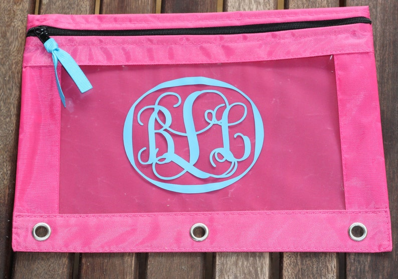 Pencil Pouch Personalize Monogram for 3 Ring BinderGlitter Case School Supply