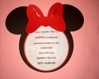 15 Inviti Faccia Di Minnie Mouse Etsy