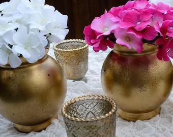 Set of 7 Distressed Bronze Gold Metallic Round Floral Vase Wedding Decor Centerpiece Wedding Table Centrepiece Home Ware Housewares Gift