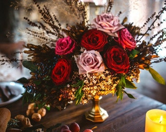 Gold Glass Pedestal Vase, Wedding Centerpieces Alter Vase, Gold Mercury Glass Vase, Wedding Centrepiece,  Pedestal Goblet Floral Arrangement