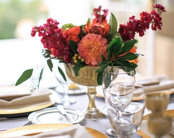 Metallic Yellow Gold Pedestal Vase Wedding Table Centerpeice Centrepiece Wedding Decor Gold Mercury Glass Floral Vase Votive Gold Vases