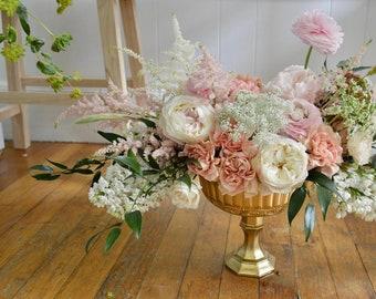 Romantic Yellow Gold Pedestal Ceremony Flower Vase Wedding Table Centrepiece Centerpiece Wedding Decor Gold Mercury Glass Floral Vase Votive