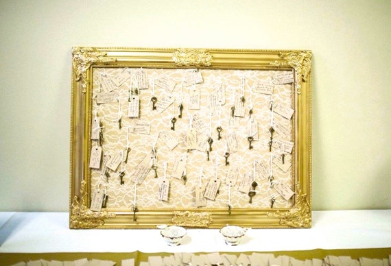 Gold Lace Wedding Chart Intricate Framed Corkboard Cork Board Lace ...