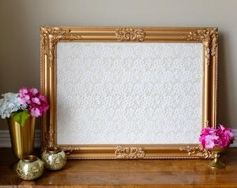Intricate Framed Corkboard Cork Board Lace Fabric Seating Chart Escort Cards Pin Board Bulletin Board Wedding Decor