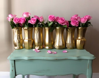 Beautiful Set of 7 Gold Wedding Vases Metallic Yellow Gold Distressed Floral Bouquet Vase Ceremony Alter Centerpeices Centrepieces  Decor