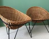 Mid Century Rattan Wicker Chairs