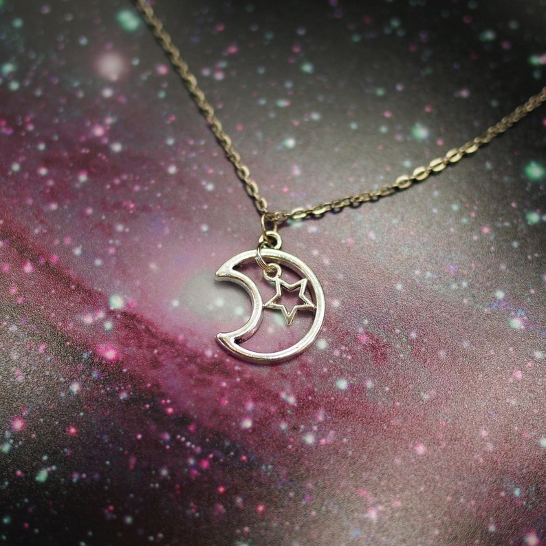 26mm Silver Yellow Plated Sun And Moon Charm