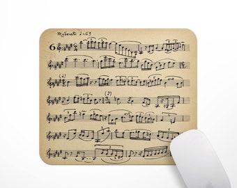 Fabric Mousepad, Mousemat, 5mm Black Rubber Base, 19 x 23 cm -Vintage Italian Sheet Music Mousepad Mousemat