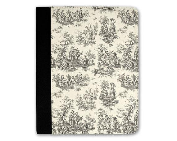 Étui Folio, iPad étui en l'Air, iPad Air 2 cas, iPad 1 Case, iPad 2 cas, iPad 3 iPad Case, iPad Mini Vintage Français noir & crème Toile motif