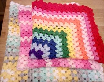 Handmade Crochet Baby Blanket Pinks, Greens, Blues, Rainbow Plus Many More Colours